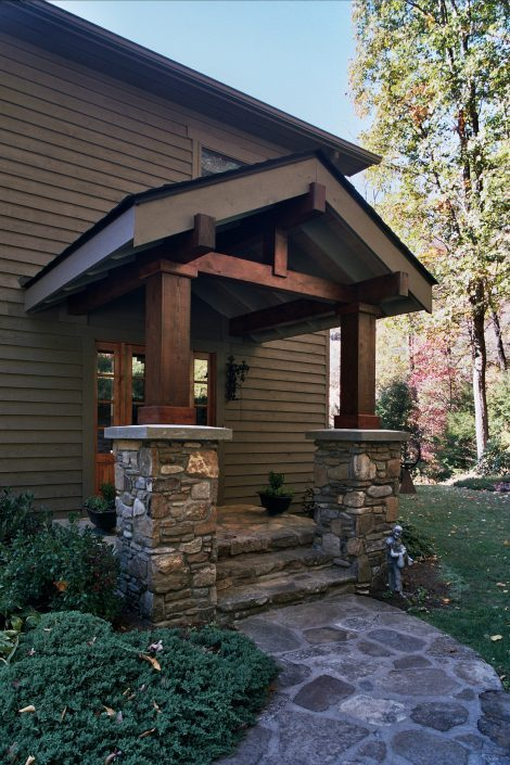 Stone Entry Porch, asheville, scott w bartholomew architecture