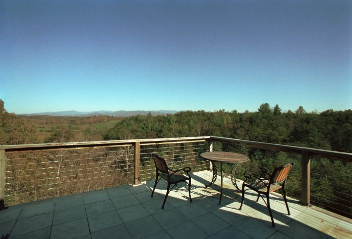 Terrace design with mountain view, asheville, Scott W Bartholomew Architect
