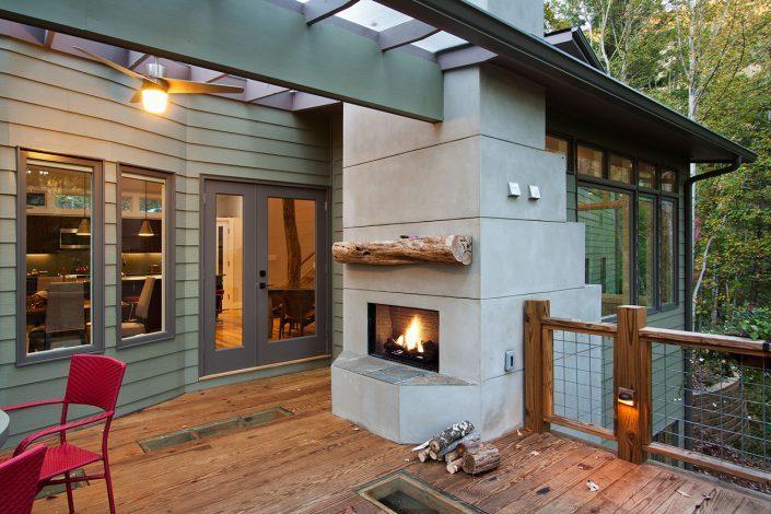 outdoor fireplace, asheville, Scott W Bartholomew Architect