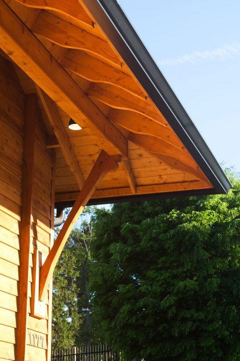 restaurant facade - roof eave, asheville, scott w bartholomew architecture